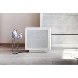 Comodino 2 cassetti struttura laccato bianco con cassetti argento spatolato