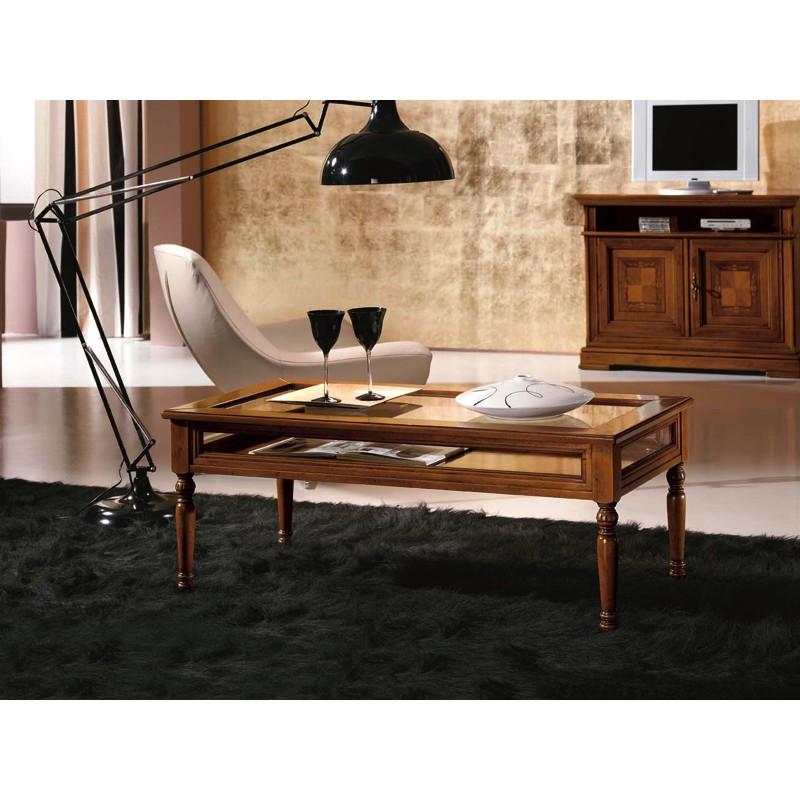 Tavolini Da Salotto Classici In Legno.Tavolino Da Salotto In Legno Massello Con Piano In Vetro Apribile