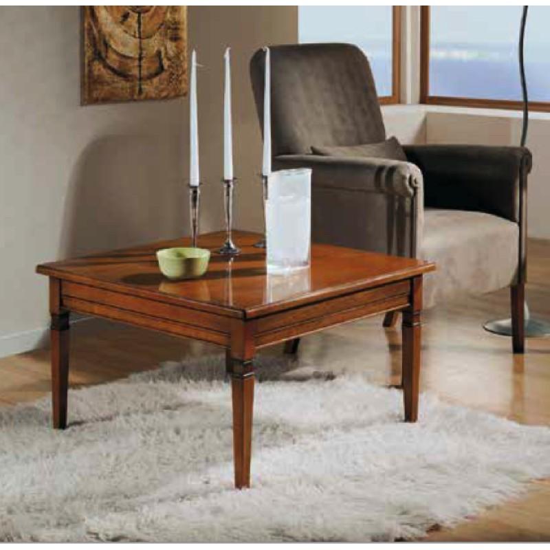 Tavolino da salotto quadrato con piano in legno