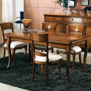 Tavolo rettangolare con filetto bois de rose sul top