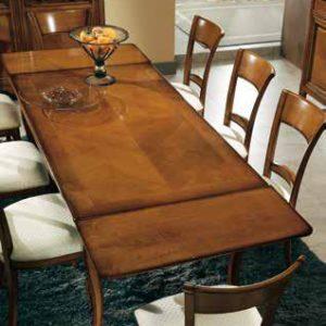 tavolo rettangolare con allunghe aperte