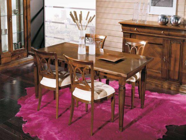 Tavolo rettangolare con intarsio rombi