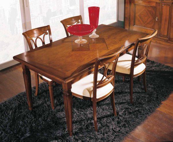 Tavolo rettangolare con intarsio fiore acero